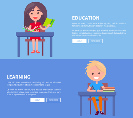 Education learning set of posters with boy and girl sitting at table with book, writing in copybook, happy schoolchildren at lessons vector illustrations