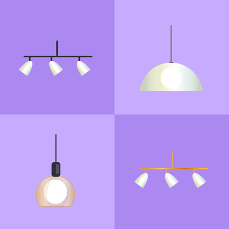 Set of Distinct Shapes Lamps Vector Illustration