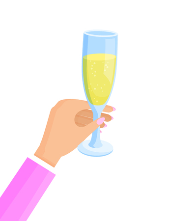 Woman hand with pink manicure on nails, glass and poured champagne, Christmas celebration, vector illustration, isolated on white background