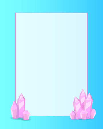 Pink crystals place for text in white frame vector