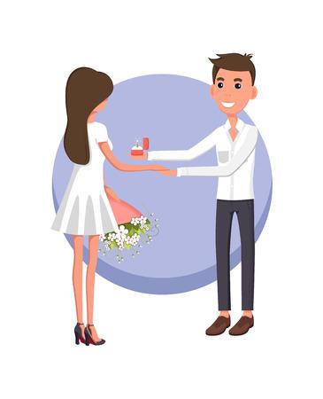 Boyfriend Making Proposal, Vector Illustration
