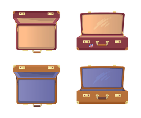 Set Open Suitcases with Britain Flag Vector Icons