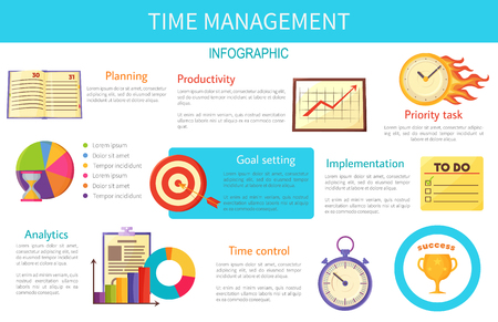 Time Management Bright Inforaphic Internet Poster Çizim