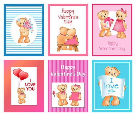 I Love You and Me Teddy Bears Vector 版權商用圖片 - 95996328