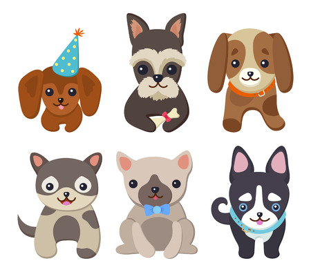 Adorable Fluffy Puppies Illustrations