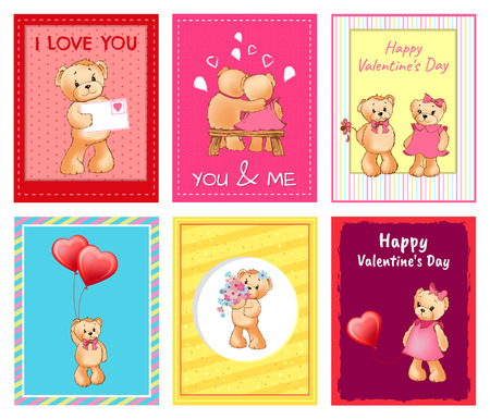 I Love You and Me Teddy Bears Vector Banque d'images - 95859829