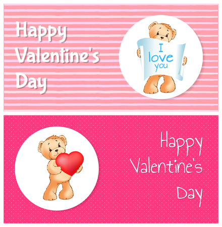 Happy Valentines Day Posters Set with Teddy Bears