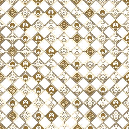 Seamless Pattern with Oriental Japanese Motifs Archivio Fotografico - 95996331