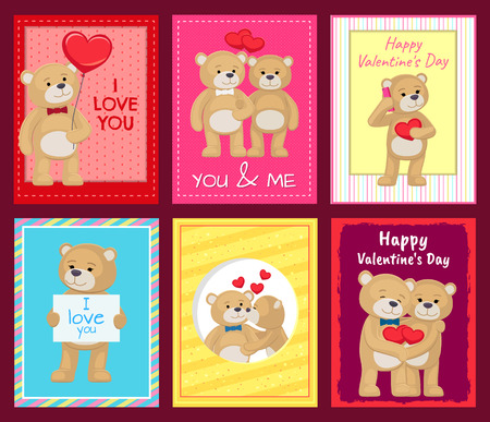 Bears on Festive Postcards for Valentines Day Banco de Imagens - 95859840
