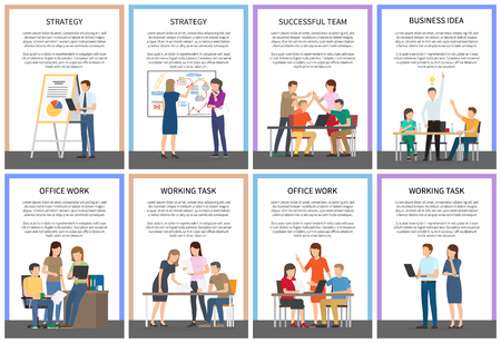 Strategy Business Idea Office Team Work Cards