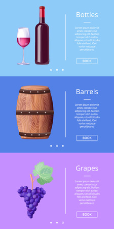 Bottles Barrels Grapes Web Poster Button Book Now