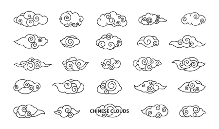 Chinese Clouds Collection Vector Illustration Çizim