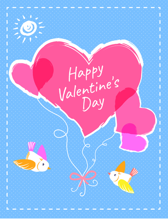 Happy Valentines day bright postcard with pink hearts on rope tied with ribbon and little birds cartoon flat vector illustrations on blue background.