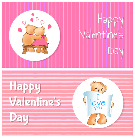 Happy Valentines day poster with two bears hugging on bench back view, teddy with paper scroll I love you message, vector illustration greeting cards Ilustração