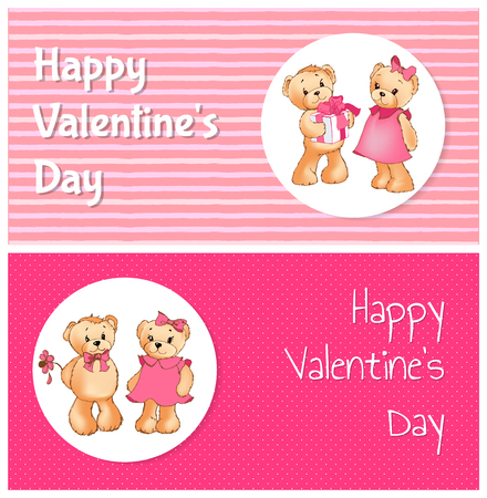 Happy Valentines day poster with two bears male teddy going to present gift box to female soft toy, or to give her flower vector greeting cards design Illustration