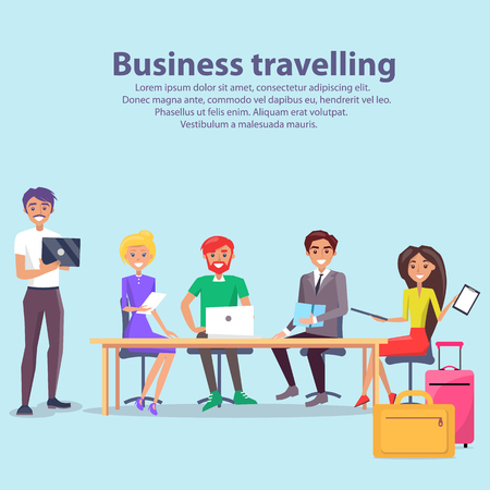 Business travelling, text sample and workers discussing something, woman with papers and pointer, luggages and preparations vector illustration Illustration