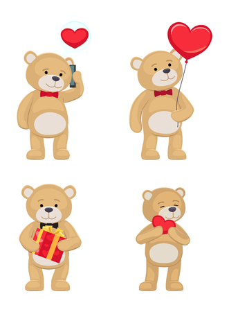 I love you and me teddy bears with heart sign vector illustration of stuffed toy animals, presents for Happy Valentines Day, cartoon posters Banque d'images - 95845562
