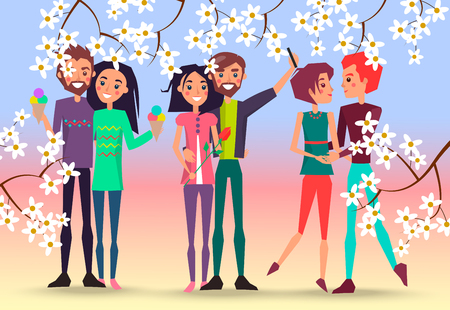 Happy couples and Cherry Blossoms Illustration