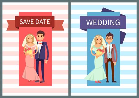 Speichern Sie Datum und Hochzeit set Vektor-Illustration Standard-Bild - 95924947