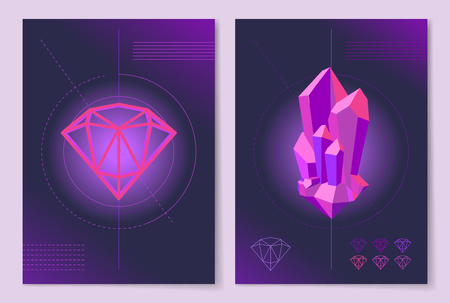 Abstract Posters with Geometric Shape and Crystal Stockfoto - 95924954