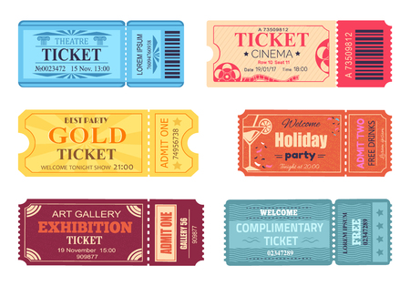 Theater cinema ticket, best party gold welcome set illustration. Vector Illustration
