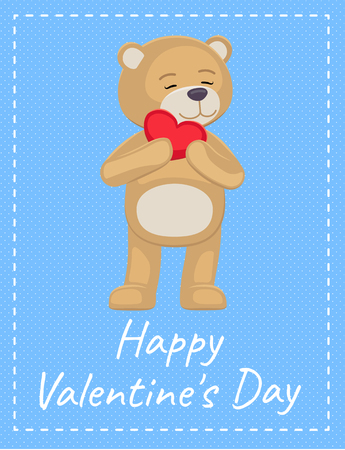 Happy Valentines Day Poster Adorable Teddy Heart Banque d'images - 95924970