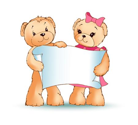 Teddy Bears Holding Placard Vector Illustration