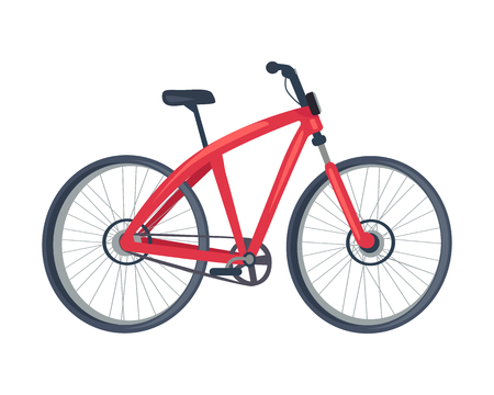 Bike of red color, poster with vehicle with two wheels, saddle and crossbar, transportation and mean of travelling, isolated on vector illustration Illustration