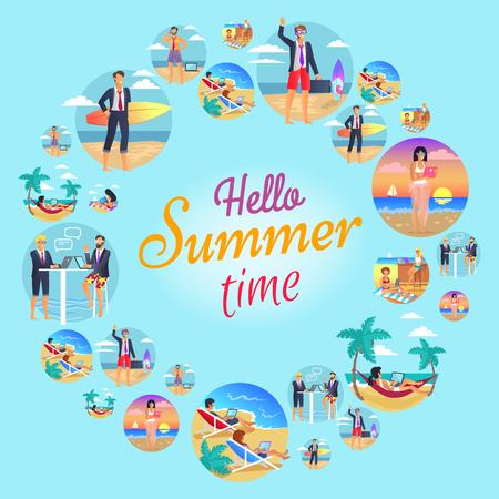 Hello Summer Time Circular Vector Illustration