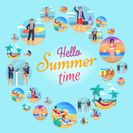 Hello Summer Time Circular Vector Illustration