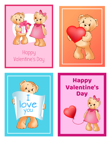 I Love You and Me Teddy Bears Vector Banque d'images - 95926634