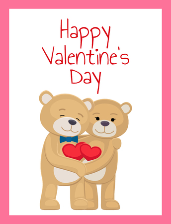 Happy Valentines Day Poster Bear Lovers Hold Heart Imagens - 95926636