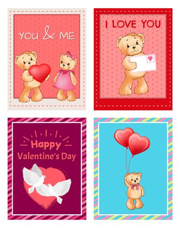I Love You and Me Teddy Bears Vector 版權商用圖片 - 96085385