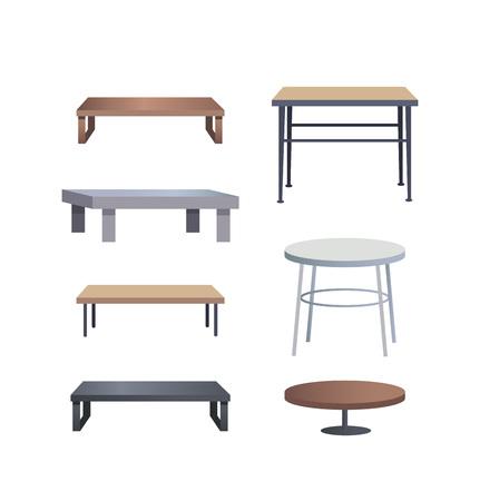 木と金属のセットで作られたスタイリッシュなコーヒーテーブル  イラスト・ベクター素材