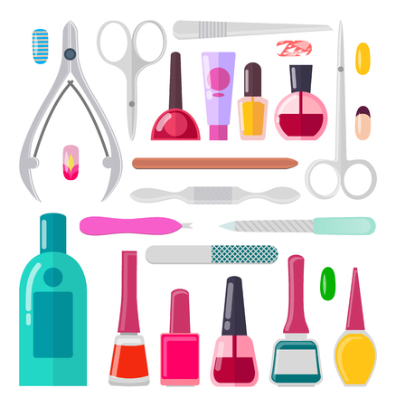 Nail Art Collection of Objects Vector Illustration