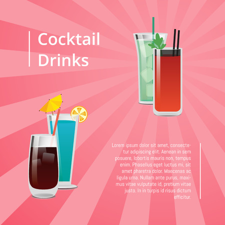 Cocktail Drinks Summer Party Poster Beverages Text 向量圖像