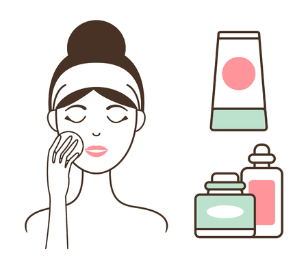 Woman Cleans Face Skin with Lotions and Tonics