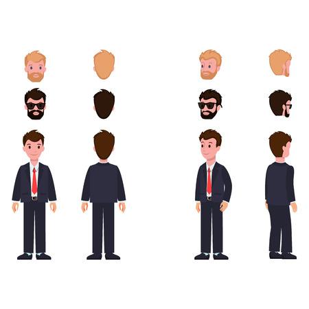 Collection de personnages d'articles permettant de créer et de construire un homme portant un costume, des têtes avec une couleur de cheveux différente avec des lunettes de soleil, illustration vectorielle