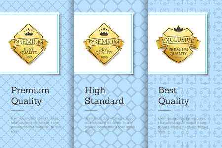 High Standard Best Premium Quality Labels Posters 向量圖像