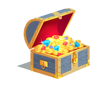 Treasure Gold and Jewelry Vector Illustration Vettoriali