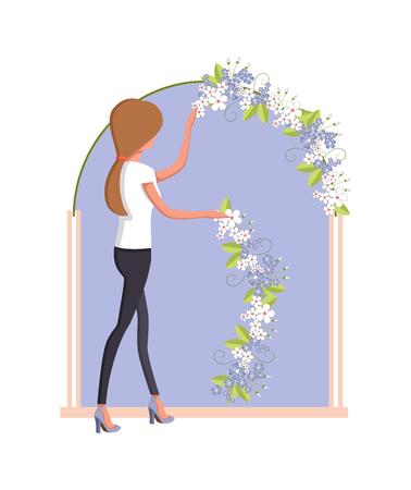 Woman organizer arranging the flowers Illustration