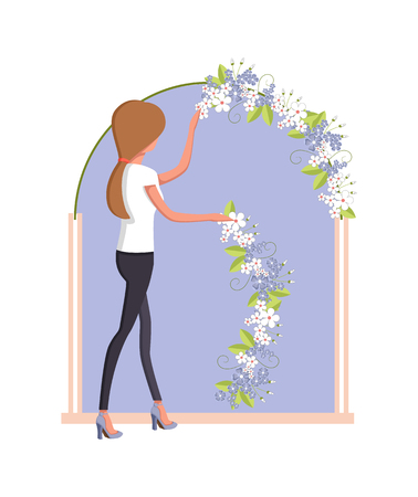 Woman organizer arranging the flowers Banco de Imagens - 96354027