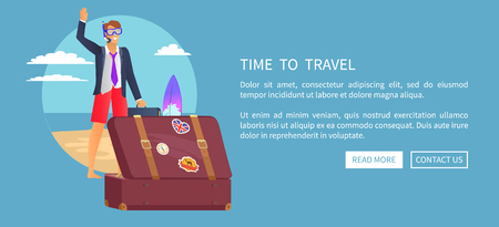 Time to Travel Web Poster vector illustration