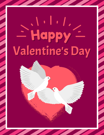 Happy Valentines Day Postcard with Doves and Heart