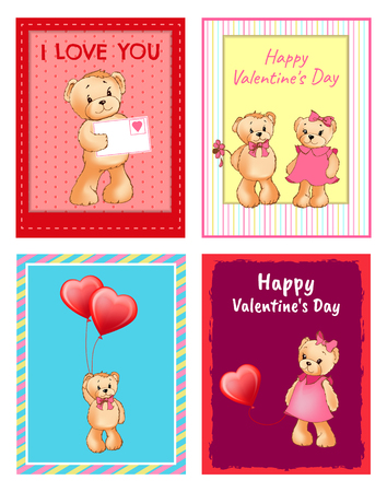 I Love You and Me Teddy Bears Vector Stock Vector - 95994526