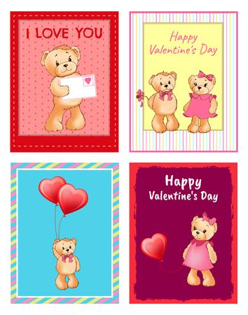 I Love You and Me Teddy Bears Vector 版權商用圖片 - 95994526