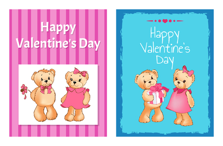 happy valentines day cards set with girl and boy teddy bears in blue and pink. Vector illustration.