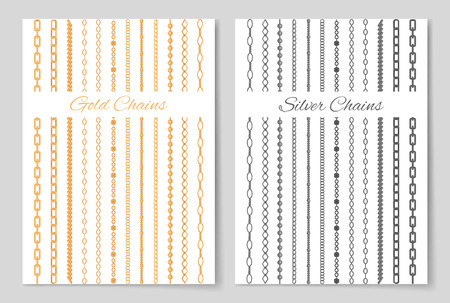 Silver and gold chains promotional posters set.  cartoon vector illustrations on white background.
