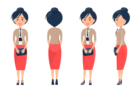 Cheerful businesswoman card vector illustration of lady in pretty red long skirt, bright jacket with four buttons black tie isolated on white backdrop