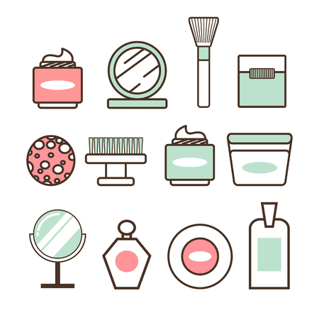 Beauty tools and means minimalistic isolated cartoon flat vector illustrations set on white background. Soft creams, thick brushes and glossy mirrors.